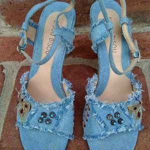 Bisou Bisou Denim Frayed Beaded Heels Sandals 8.5